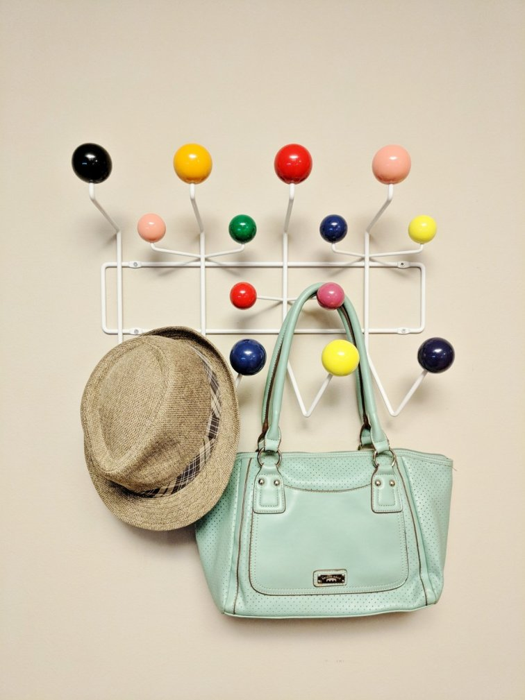 Colorful mid-century modern coat rack
