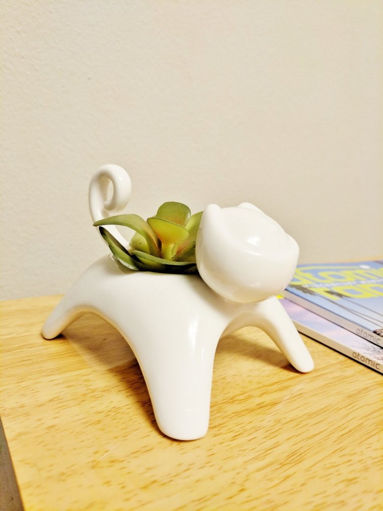 Tiny cat planter or candle holder for the office