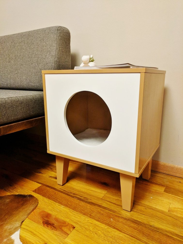 Modern cat house side table for the home office