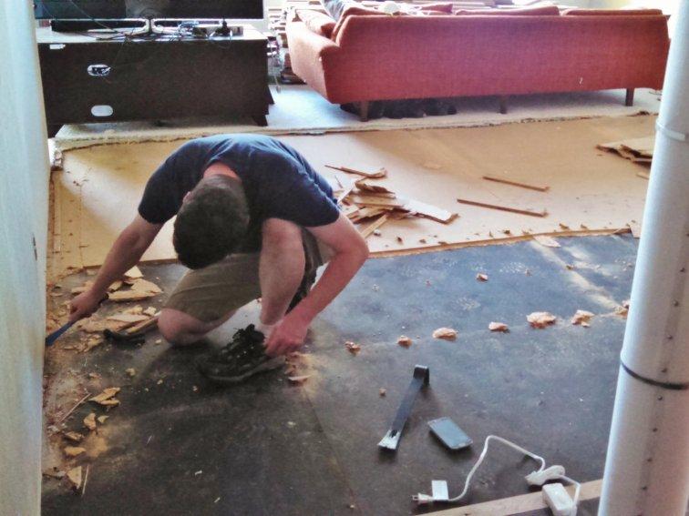 Removing sub-floor before installing hardwood floors
