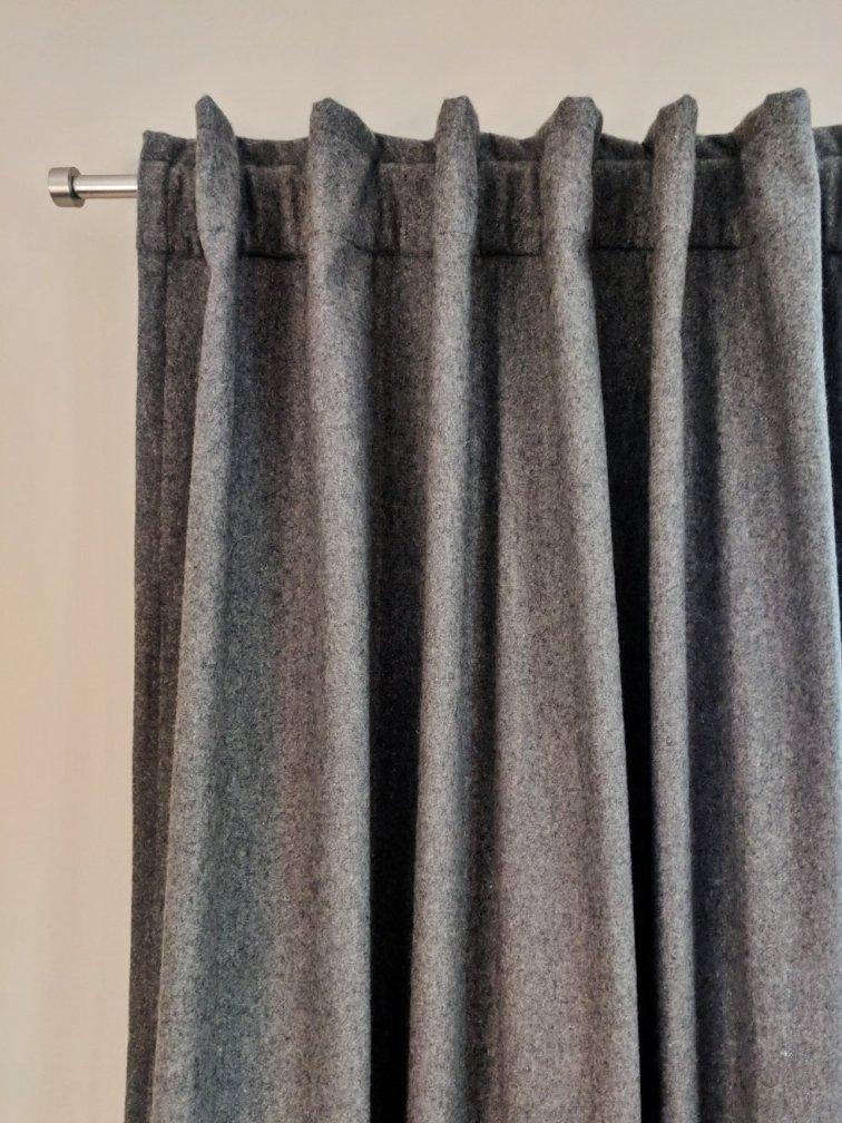 Modern gray wool curtains