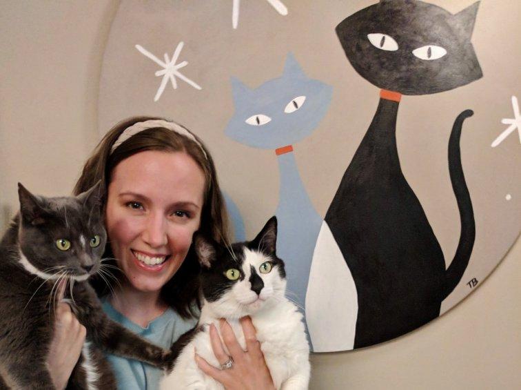 Atomic kitty mid-century modern painting