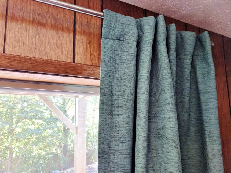Mid-century modern curtains in turquoise tweed