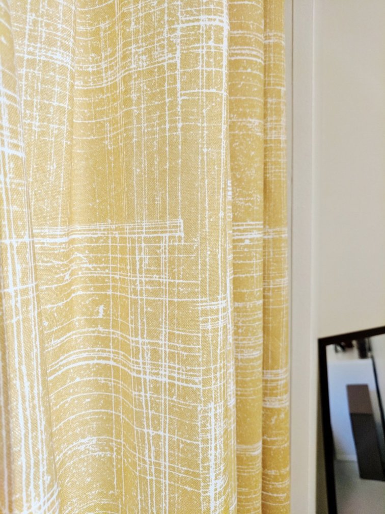 Mid-century style yellow etched grid curtains