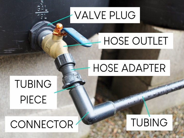 Here's how the rain barrel connector pieces snap together