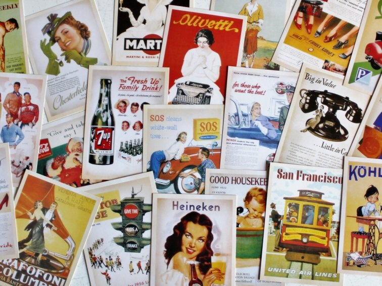 Vintage advertising postcards
