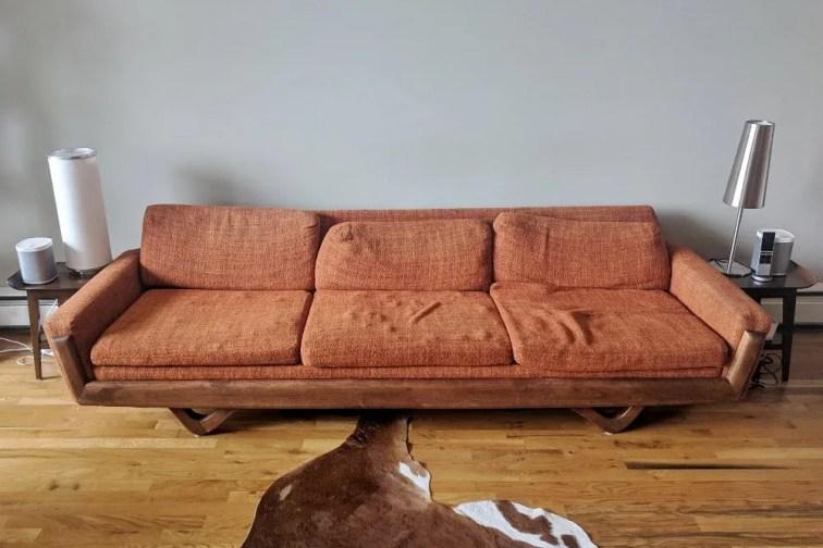 Mid-century modern gondola style sofa before reupholstery