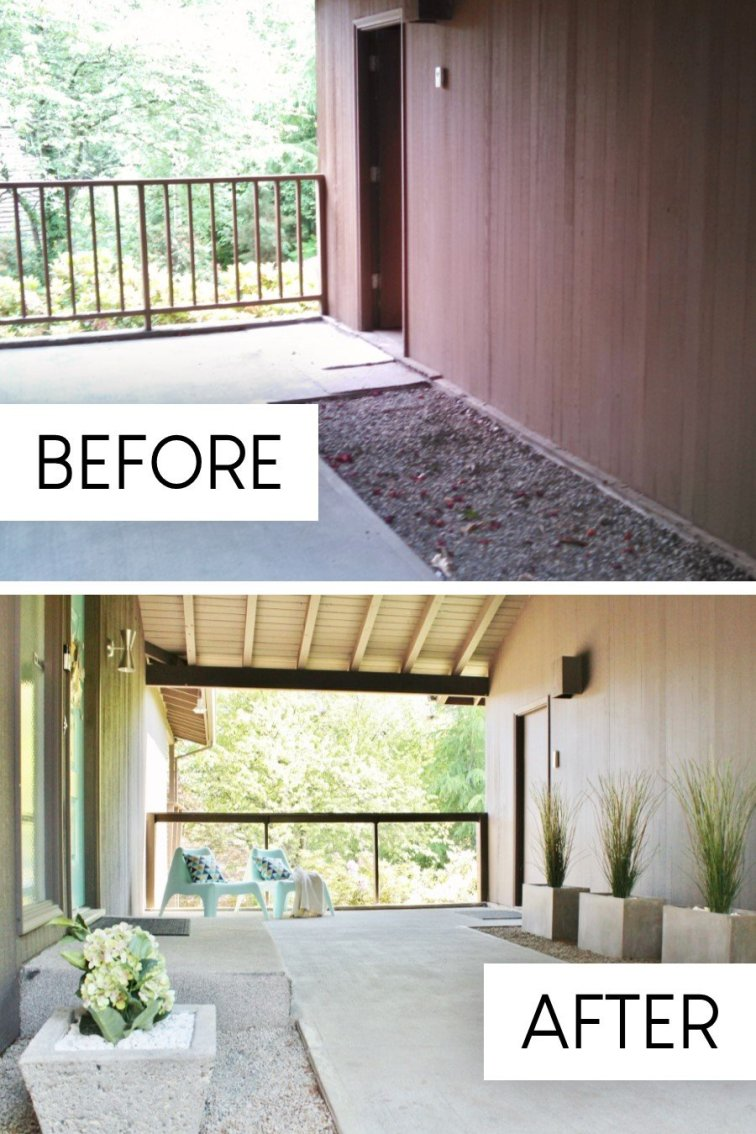 Retro breezeway update before and after