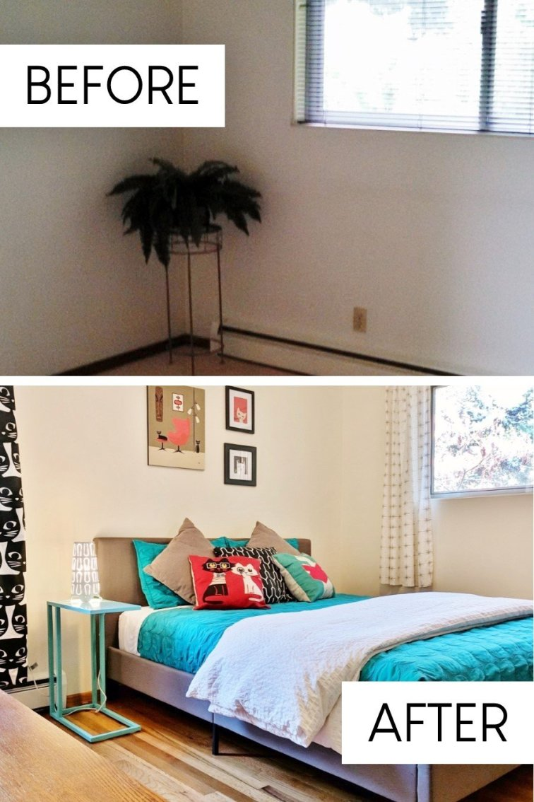 Retro mod guest room update in fixer upper house before and after