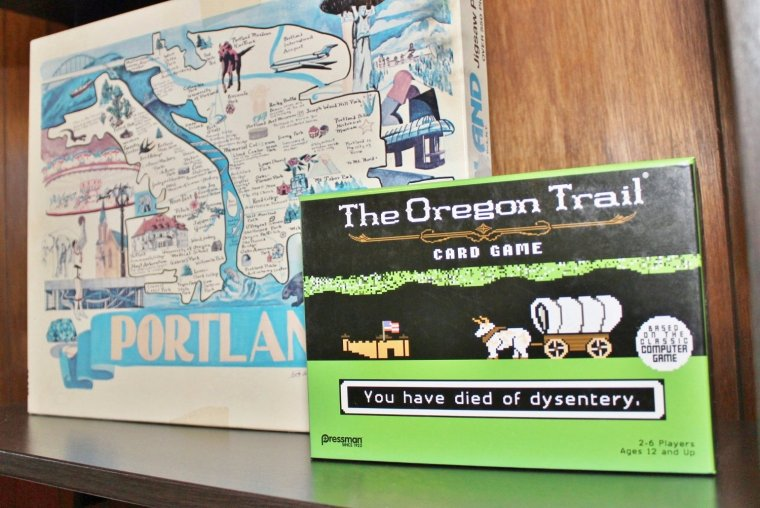 Board game display idea with the Oregon Trail card game and a Portland puzzle