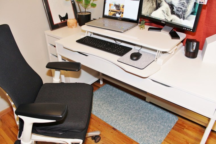 Sitting/standing desk in the sitting position