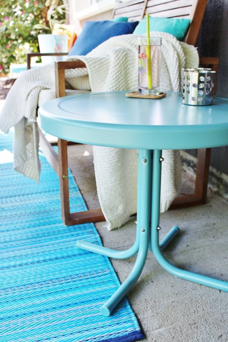 Retro Crosley outdoor side table in Caribbean blue