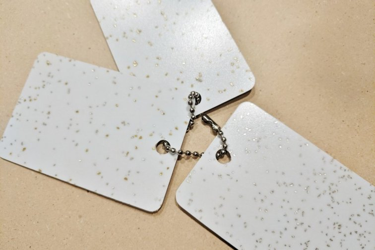 SparkleLam white laminate samples with glitter