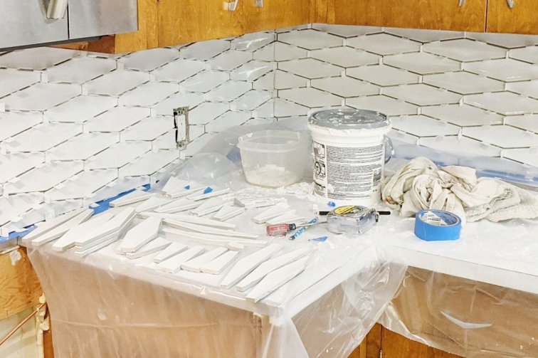 Pre-cut tile ready for backsplash installation