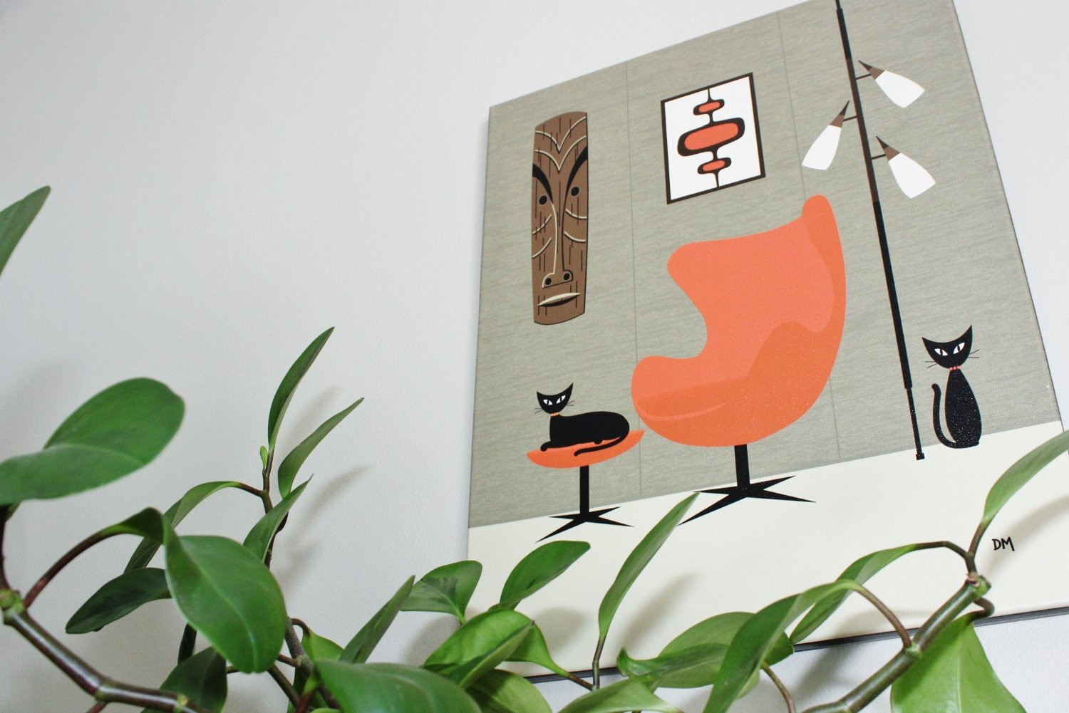 Mid-century modern cat art - tiki cat painting by Donna Mibus