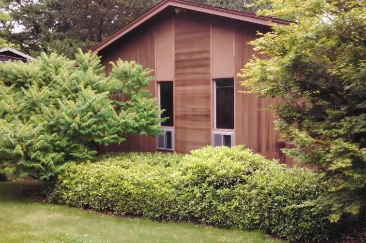 Mid-century modern ranch house before getting curb appeal makeover