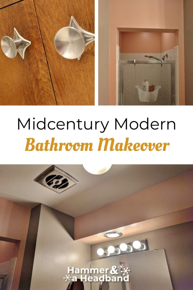 Mid-century modern bathroom makeover with mod pink paint