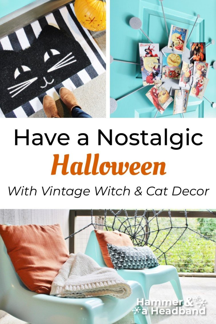 Have a nostalgic Halloween with vintage witch and cat decor
