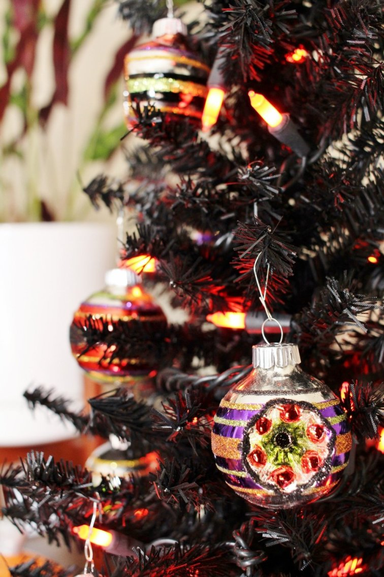 Black Halloween tree with Shiny Brite ornaments