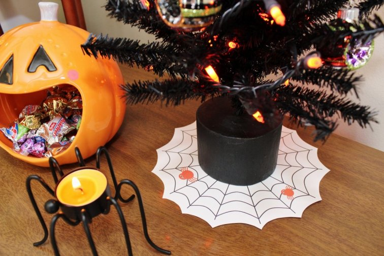 Spider web tree skirt for a mini Halloween tree