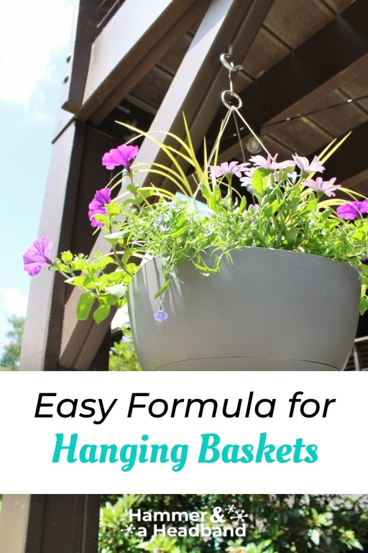 Easy formula for styling hanging baskets