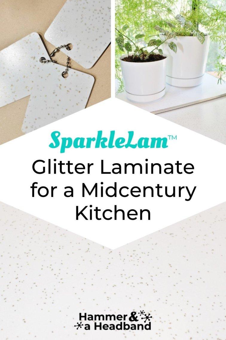 SparkleLam glitter laminate countertops for a mid-century kitchen