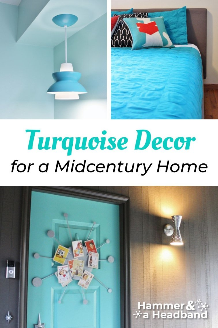 Turquoise decor for a mid-century home