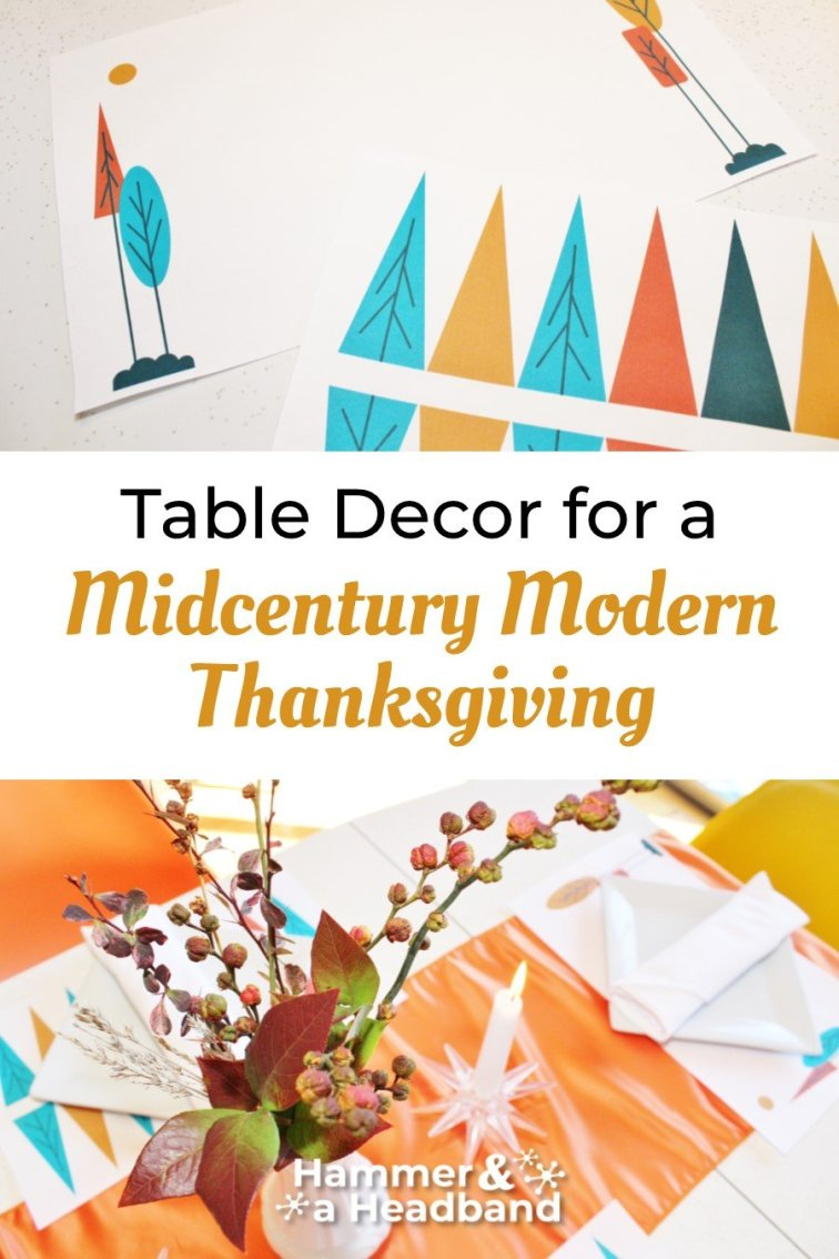 Mid-century modern Thanksgiving table decor, floral arrangement and placemats