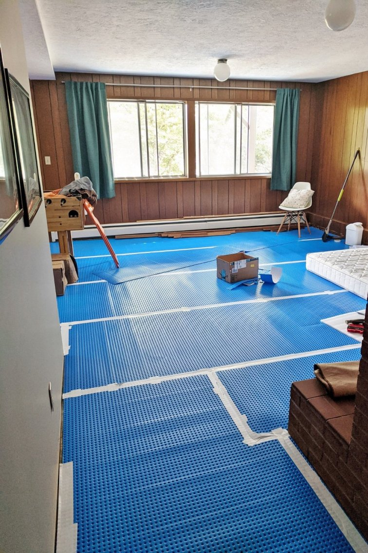 Underlayment installed in basement