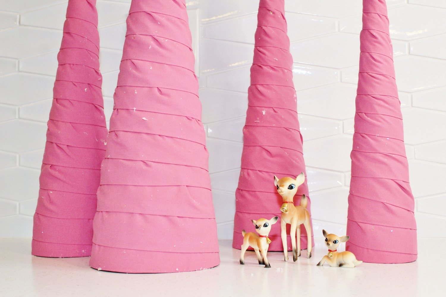 DIY fabric cone trees for Christmas decor