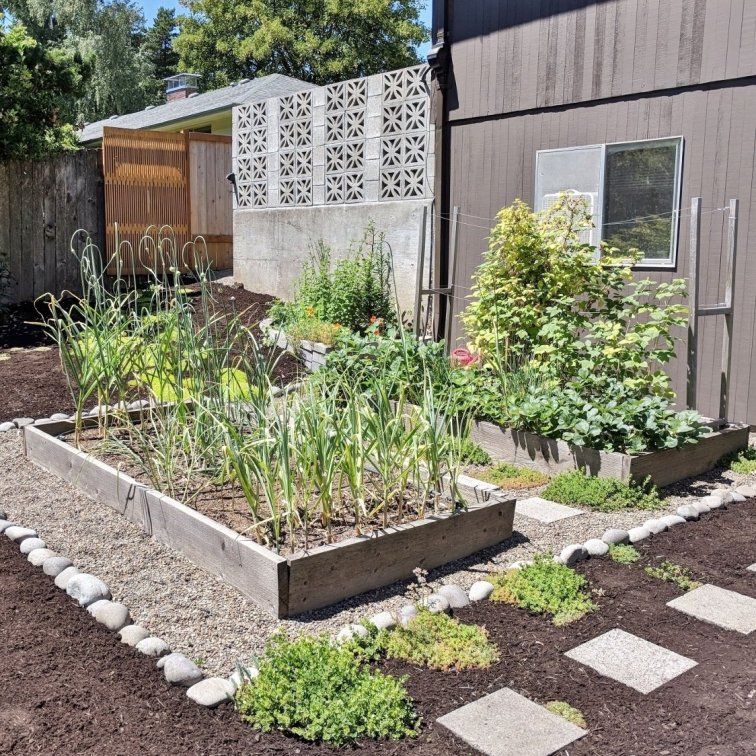 Modern garden makeover with raised beds and mid-century breezeblock