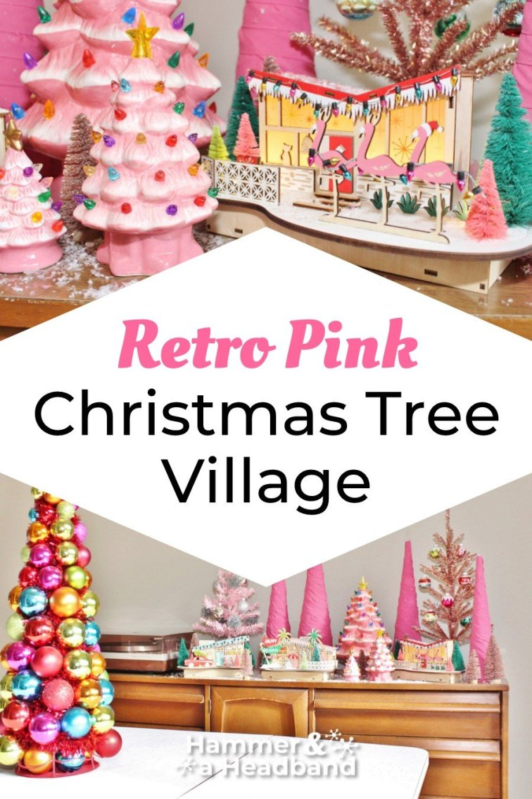 Retro pink Christmas tree village