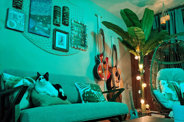 Mid-century modern tiki bar decor with string lights and banana tree