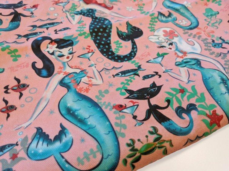 Retro modern mermaid and mer-kitty fabric