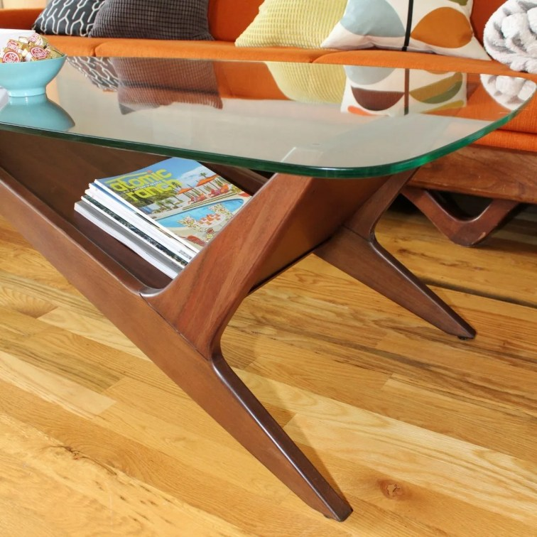 Modern coffee table in mid-century style living room
