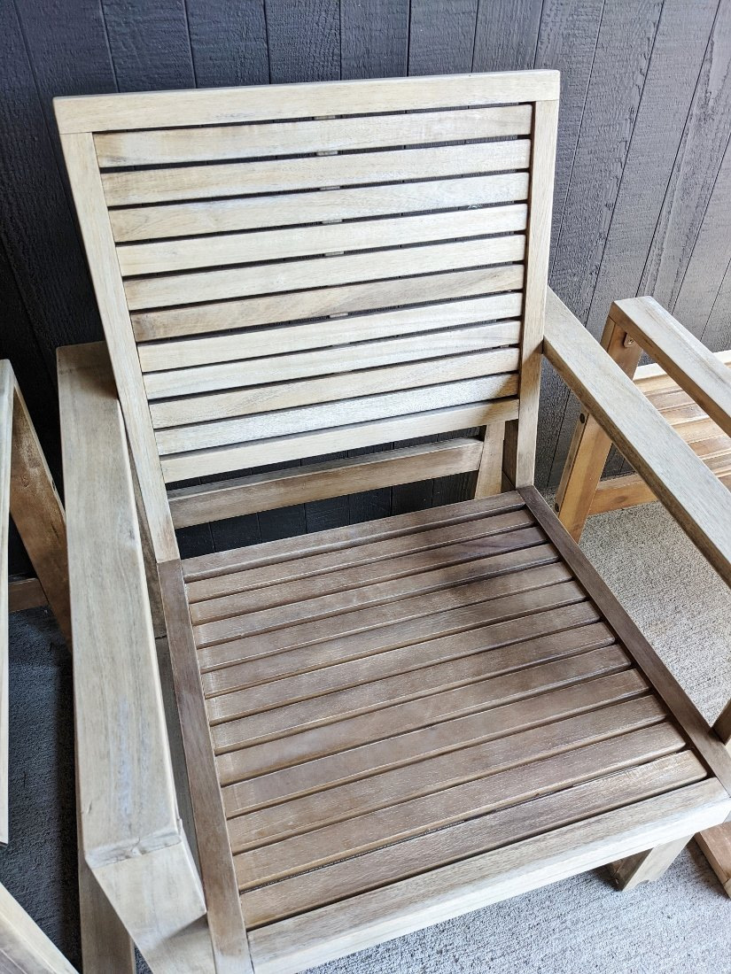 Acacia patio chair after sanding