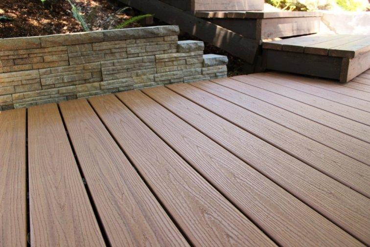 Retaining wall blocks around Trex composite deck