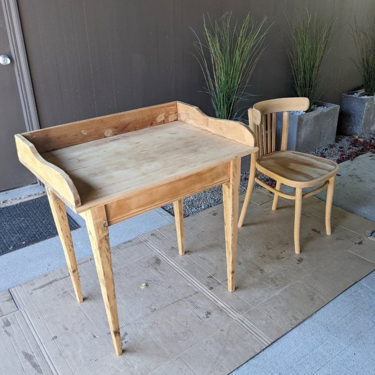 Vintage wood desk and chair after sanding