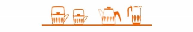 Cartoon sketch of Cathrineholm tea kettles and coffee pots