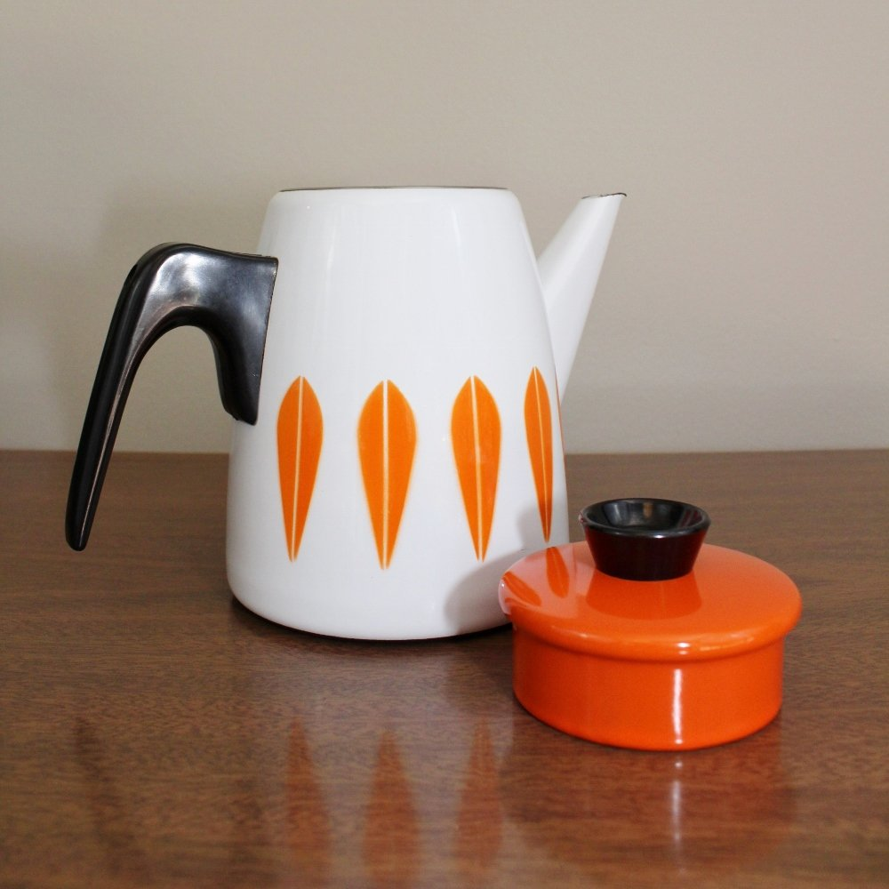 White and orange Cathrineholm coffee pot kettle
