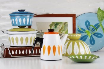 Cathrineholm lotus enamelware collection in mid-century kitchen