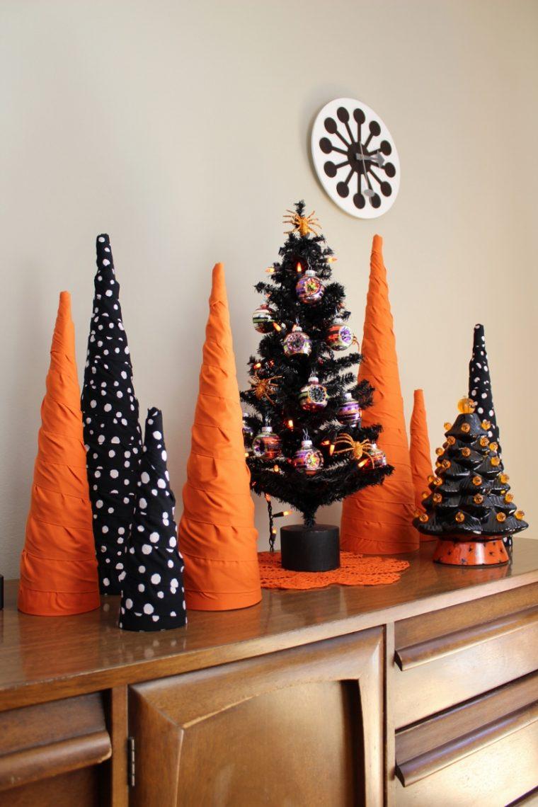 Halloween cone tree decor for tabletop display indoors