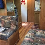 Renovated camper interior floor