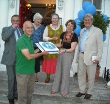 Left to right Michael Brindle (1990-1995), Roger de Freitas(1999-2003), Angela Clarke (2006-2009), Rosemary Pettit (2012-2015), Melanie Whitlock (1984-1990 and 2009-2012) and Hans Haenlein (1966-72 and current President of the Society).
