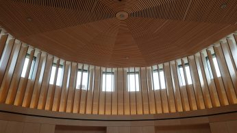 Quaker meeting wooden ceiling