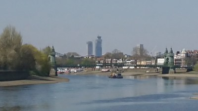 River & Hammersmith Bridge with North Action towers looming over