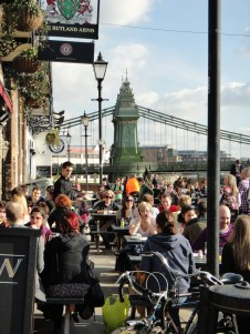 """Rutland Arms, Lower Mall """"The crowds enjoying unexpected February sunshine and a Sunday roast"""" February 2012 - by Chloe Poulter (age 15)"""