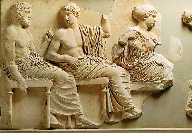 Poseidon Apollo and Artemis on the Parthenon Frieze in Athens. Copyright DJP 2002
