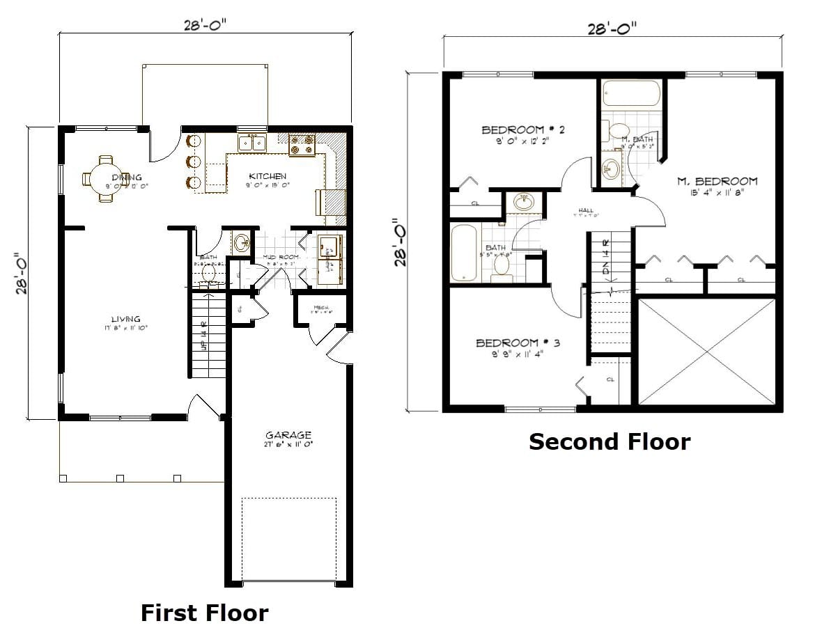 House Plans With Stairs In Kitchen