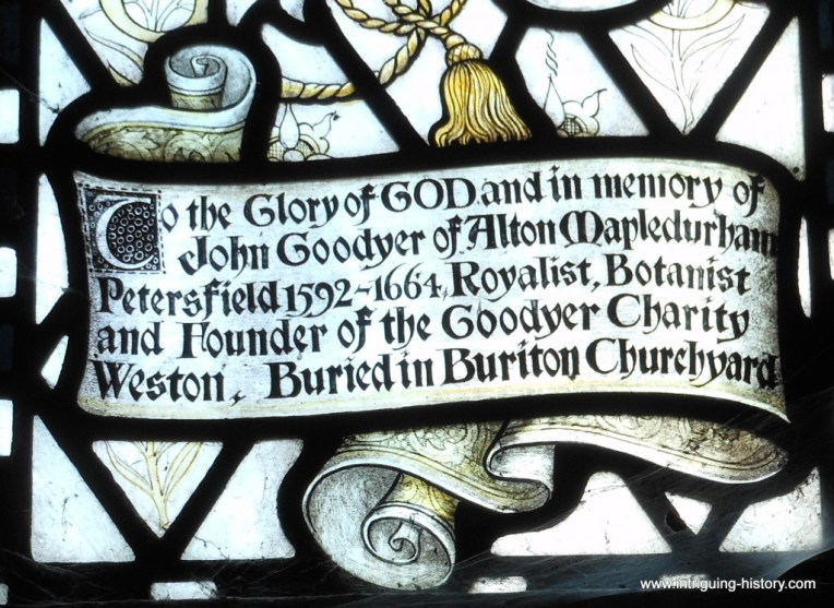 John Goodyer buried at Buriton Hampshire